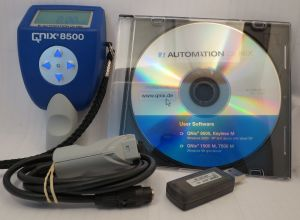 Automation Dr. Nix Paint Thickness Gauge Model QNix® 8500 Premium w/ Fe/NFe (Dual) probe 0- 200 mils, Extension Cable, Software, USB wireless Connector